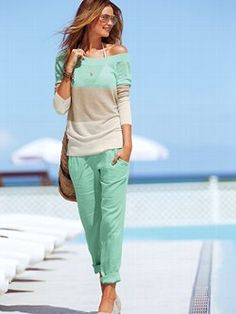 VS relaxed linen pants and off the shoulder color block sweater.