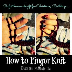 How to Finger Knit is easy and no tools needed! Even kids can do it.