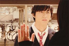 #2 of 3-GIF scene. Masahiro Higashide as Mabuchi Kou in Ao Haru Ride Live Action / Blue Spring Ride Live Action! THIS KILLED ME aah it was so beautiful! His expression! Ir was such a beautiful scene in the manga so I was anxious to see whether it'd be rendered well in the movie, but I was totally blown away! :'D portrayed and acted beautifully! #GIF .