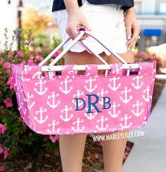 Monogrammed Large Pink Anchors Market Basket