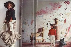 "The-interior-of-artist-Cy-Twombly's-home-in-Rome.-Amazing.-November-1966-issue-of-Vogue-entitled-""Roman-Classic-Surprise"".---His-sons-at-home"