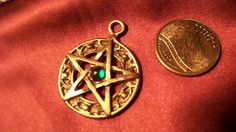 emerald green crystal central point of US pewter pentagram pendant