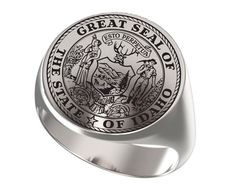 Signet Ring, Mens Ring, Personalized Ring, Great Seal, Seal State, State of Idaho, United States, Engraved Round Ring, 925 Sterling Silver