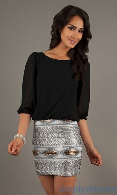 Black Sequin Party Dress, Cheap Semi-Formal Dress- Simply Dresses
