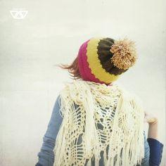 alpaca wool knit hat, handmade cap with huge pom pom  by dienes