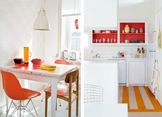 love the red inside the cupboard