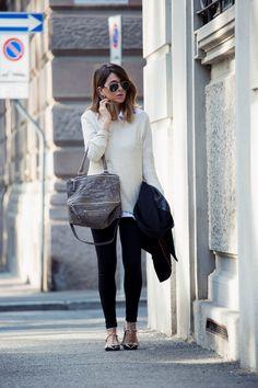 Sweater: Zara, Sunglasses: Balmain, Givenchy Pandora Bag, Valentino Rockstud Ballerina Flats http://FashionCognoscente.blogspot.com