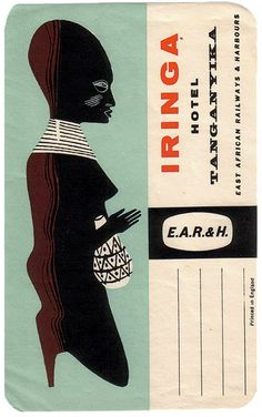 Modernist luggage label for Tanganyika. From: Art of the Luggage Label on Flickr