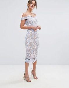 Boohoo Lace Off The Shoulder Midi Pencil Dress at asos.com