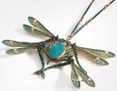 R. Lalique Pendant Quatre Libellules: four dragonflies motif 18K gold, plique, enamel, old cut diamonds and opal apparently w/original enameled baton style chain and box, c.1900