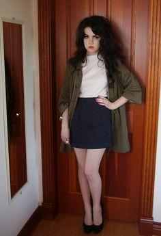 Thrift Shop Brown/Grey Coat, Suzy White Cardigan, Thrift Shop Navy Dotted Skirt, Thrift Shop Oversized Pearl Ring, Hue Sheer Stockings, Aldo Black Platform Pumps