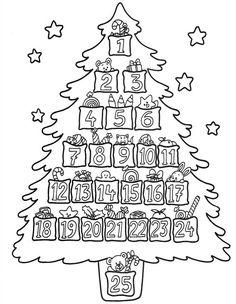 Advent Christmas Tree Coloring Page Colorful Christmas Tree, Christmas Colors, Noel Christmas, Christmas Countdown, Christmas Calendar, Christmas Activities, Christmas Printables, Christmas Templates, Christmas Tree Coloring Page