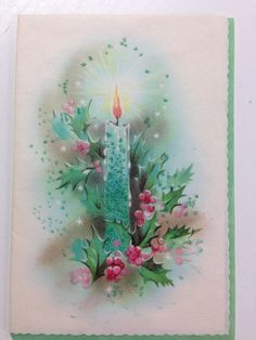 Vintage Christmas card Candle  Hampshire Publishing HAP Made in the USA