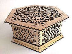 Thank you for visiting our store. For sale is wooden box for jewelry (Laser cut vector model only). Create of plywood 4 mm (0,16 inch.) - Laser cut vector model Digital product includes AI, EPS, CDR, DFX files. DIMENSION- Dimension external: 200x229x80 mm -DESIGNS- Item have a