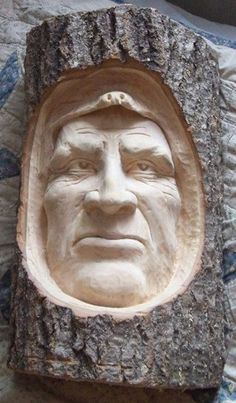 This hand-carved indian face in wood is also AKA snowmobile accident. This face is about tall by 9 across. It comes from a piece of popple fire wood. Wood Carving Faces, Tree Carving, Wood Carving Patterns, Wood Carvings, Wood Creations, Wooden Art, Whittling, Wood Sculpture, Tree Art