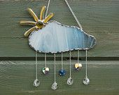 Sun and Cloud Stained Glass Sun Catcher. Abstract. Crystal Raindrops