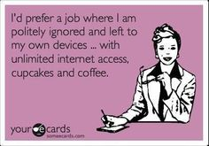 I'd prefer a job where I am politely ignored and left to my own devices…with unlimited internet access, cupcakes and coffee.  (Actually, I prefer doughnuts. Or bagels.)