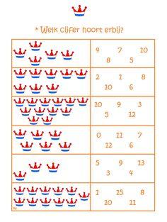 * Welk cijfer hoort erbij? Kings Day, Pre School, Holland, Playing Cards, Education, Math, Projects, Kids, Bingo
