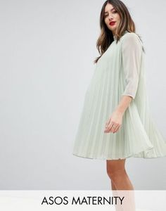 309c6512753 ASOS Maternity Pleated Trapeze Mini Dress Asos Maternity