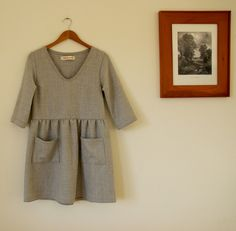 Winter wool day dress in grey wool flannel from Pyne & Smith