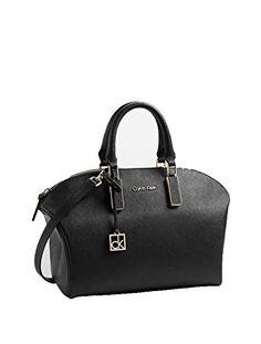 Calvin Klein Ck White Label Scarlett Saffiano Leather City Dome Satchel Purse Bag Handbag Black