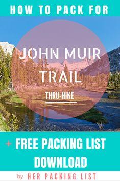 A super LIGHT packing list for a female hiking the John Muir Trail. Grab a downl… A super LIGHT packing Thru Hiking, Hiking Tips, Camping And Hiking, Outdoor Camping, Hiking Gear, Camping List, Camping Ideas, Outdoor Travel, Her Packing List