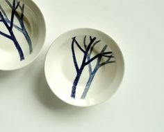 TWO Noritake Craftone Trees  Vintage Cereal Bowls by BeppieandEido