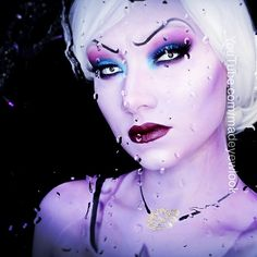 Working on editing a request video from a subscriber, Nicole! #ursula will be up on YouTube.com/MadeYewLook later tonight or possibly tomorrow. I also used the new @urbandecaycosmetics #electricpalette for this look, @Mehron Makeup gold metallic powder, @M∙A∙C Cosmetics purple body paint, mixed with @graftobianmakeup's amazing white body paint, and @House of Lashes #noirfairy SUPER INTENSE lashes. #houseoflashes #houseoflashesnoirfairy #propaint #chromacake #mehronmetallicpowder #seawitch
