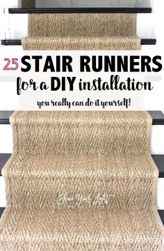 How To Install A Seagrass Stair Runner - Shine Your Light Farmhouse Light Fixtures, Farmhouse Lighting, Staircase Runner, Runners For Stairs, Carpet Runner On Stairs, Farmhouse Stairs, Beautiful Stairs, Staircase Remodel, Staircase Makeover