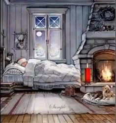 """Trisha Romance Handsigned & Numbered Limited Edition Giclee:""""Dreaming of Christmas"""" , Good Night Greetings, Good Night Messages, Good Night Wishes, Good Night Sweet Dreams, Good Night Quotes, Good Night Funny, Good Night Image, Good Morning Good Night, Merry Christmas Gif"""