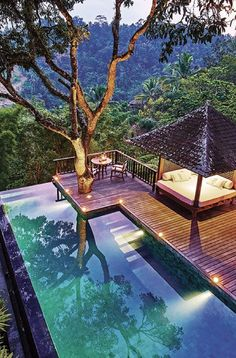 Indonesia Rainforest Escape Explore Indonesia using this two-week itinerary. Unwind in luxurious Bali before exploring the remote island of Sumba and diving deep into the region's culture in Java. Hotel Swimming Pool, Small Swimming Pools, Swimming Pool Designs, Bali, Beautiful Islands, Beautiful Places, Piscina Do Hotel, Diy Terrasse, Cultural Architecture