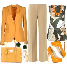 Today's fashion pick - in shades of cantaloupe & taupe. Mature Fashion, Work Fashion, Spring Fashion, Daily Fashion, Fashion Outfits, Fashion Design, Fashion Beauty, Business Outfits, Business Attire