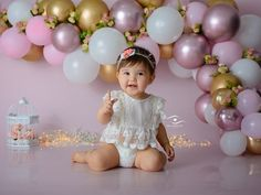 Rainbow First Birthday, 1st Birthday Party For Girls, Girl Birthday Decorations, Baby Girl First Birthday, First Birthday Photography, Birthday Girl Pictures, 1st Birthday Photoshoot, Baby Cake Smash, Cake Smash Photography