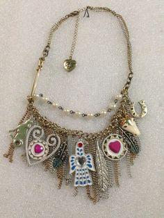Betsey Johnson Necklace Indian Summer Bird  Feather Horse Chains Rare #BetseyJohnson #Statement