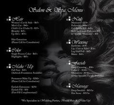 The Hair Salon Price List   Les Ciseaux Salon and Spa