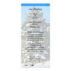Designs by Susan Savad - Evergreen in Winter Wedding Program -- Winter wedding program that you can customized yourself.  #wedding  #weddingprogram #customize #winter #snow #evergreen   $0.55  per card. BULK PRICING AVAILABLE!
