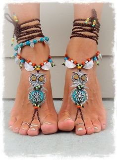 "Boho gufo BAREFOOT sandali carino gufo piede gioielli di GPyoga---da""A piedi nudi""diⓛⓤⓐⓝⓐ"
