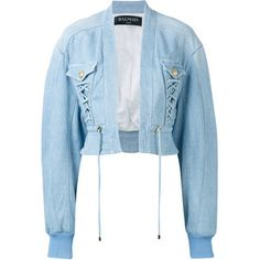 Balmain Cropped Denim Bomber