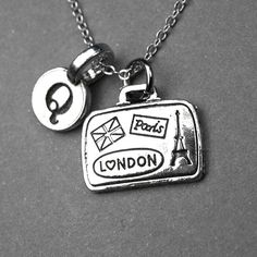 Suitcase necklace, suitcase charm, luggage necklace, traveler jewelry, suit case charm, personalized necklace, initial necklace, monogram by chrysdesignsjewelry on Etsy