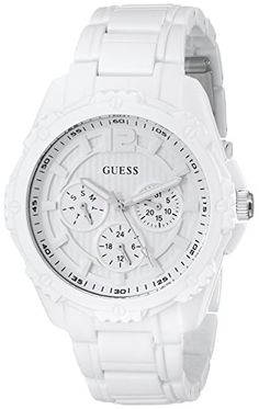 GUESS Womens U0232L6 White Sport MultiFunction Watch >>> More info could be found at the image url.