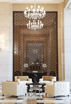 ideas wall design hotel lobby metal screen for 2019 Hotel Lobby Design, Modern Hotel Lobby, Decorative Room Dividers, Decorative Screens, Design Entrée, Wall Design, Design Ideas, Lounge Design, Screen Design