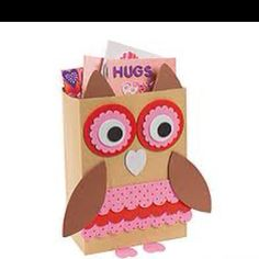 Owl Valentine Box - maybe made from a cereal box
