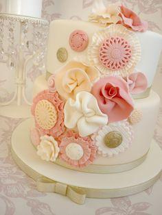 Vintage Ruffle Flower Birthday Cake