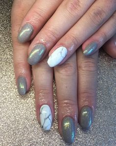 Marble nail art with grey with glittery nails