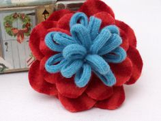 FELTED WOOL FLOWER Pins  -   -  12.00  -  Coral Red Petal Design with Turquoise Loopy Center. $12.00, via Etsy.