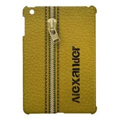 NEW! Olive green leather look with zipper custom iPad mini case.