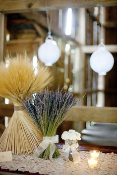 lavender and wheat country wedding centerpiece / http://www.deerpearlflowers.com/wheat-wedding-decor-ideas/