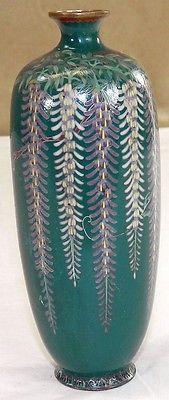 Japanese Cloisonne Vase w Wisteria Decoration | eBay