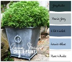 Painted Planters - coordinating ASCP colors used to get the different finishes shown - via Colorways with Leslie Stocker