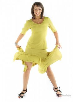 Natural Spin Signature Dance Tops(Short Sleeve):  LT12_YELLOW